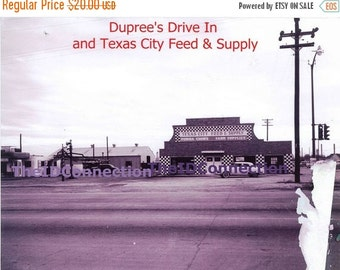 Valentines Day Sale Vintage 1950's Texas City Digital Scan of Dupree's Drive In and Texas City Feed & Supply Store, Texas Avenue Retro 50's