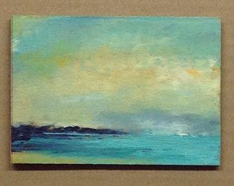 MINI 1638, 0il painting, landscape, miniature art, original painting, 100% charity donation, oil painting on cardboard