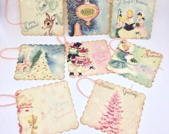 Vintage Style Handmade Christmas Gift Tags Pink