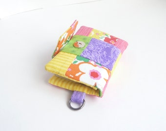 womens wallet. pastel spring credit card organizer. teen girl gift. pink green purple fabric business card case