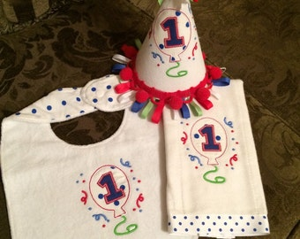 Baby First Birthday Hat, Bib and Burp Cloth set party hat gift accessories ifea