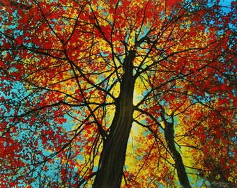 Autumn begins,16x20 inches, Gift Ideas / Gardener & Naturalist, #Fall decor #tree art #Gina Signore #red trees #autumn leaves