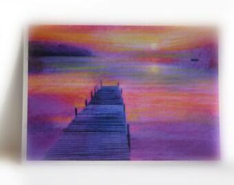 Fishing at dawn, aceo original, mixed media photograph, boats, fishing, purple art, tiny art, little gifts