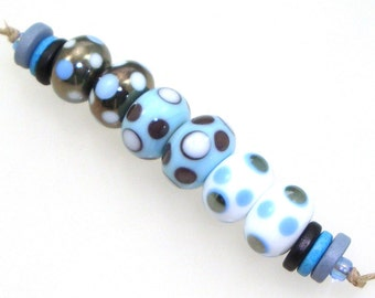Handmade Lampwork Glass Beads - 3 pairs. Dotties in silver black, pajama blue, white. Stacked dots. Earring pairs.
