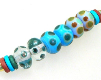 Handmade Lampwork Glass Beads - AChino! 3 pairs. Dotties in cirrus, teal, turquoise, olive, caramel, mint. Stacked dots, earring pairs