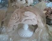 vintage ladies dress hat with veil, velvet ribbon, rich cafe mocha nude color, roses, tea party, dress up, costume, 1950s, like new