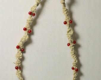 Hemp Spiraled and Beaded Bracelet