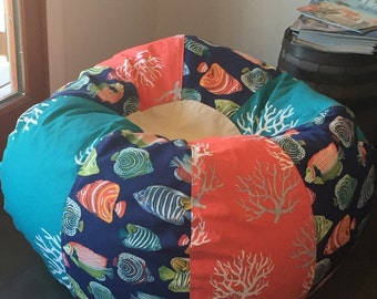 NEW Tropical Aquarium Fish and Corals Bean Bag chair with Cover and liner but UNFILLED flat you fill