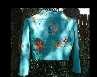 Teal Leather embroidered cropped jacket rock and roll festival wear one of a kind wearable art art to wear floral embroidery