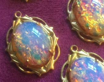 Vintage Glass Opal Beads Cabochons in Settings or not your Choice (2or4)(these are stunning)