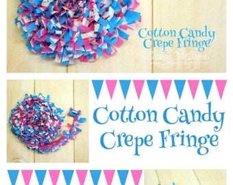 Cotton Candy Handmade Crepe Paper Fringe, Festooning, Trim, Garland, Decoration, Party, Craft Supply, Streamer, DIY, Hot Pink, Turquoise