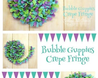 Bubble Guppies Handmade Crepe Paper Fringe, Festooning, Trim, Garland, Decoration, Party, Craft Supply, Streamer, DIY, Aqua, Lavender, Lime