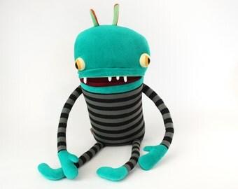 "Stuffed Monster ""Nino"" Pajama Cotton Monster with Pocket Mouth"