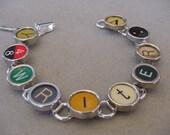 Typewriter key Bracelet - spells WRITER  Colorful Typewriter Keys Jewelry  Bracelet