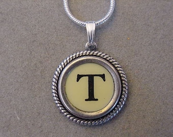 Typewriter Key Jewelry Necklace CREAM  LETTER  T- Typewriter Key Necklace - Initial T serif font Initial Necklace