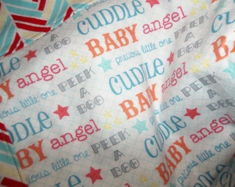 BABY QUILT,Flannel, Unisex, 100% Cotton, Herringbone color Backing!!  Baby Shower Gift!!