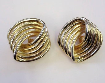 Stunning Classic Givenchy Gold Metal Clip Earrings