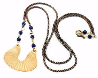 Riverbend Necklace, Long Layering Necklace, Lapis Lazuli gemstones, Modern Bohemian Style Jewelry