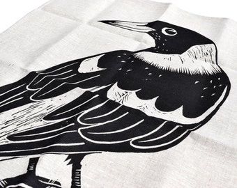 Tea Towel, Australian Magpie Screen Printed Tea Towel in Linen, Australian Native Bird, Australian Magpie