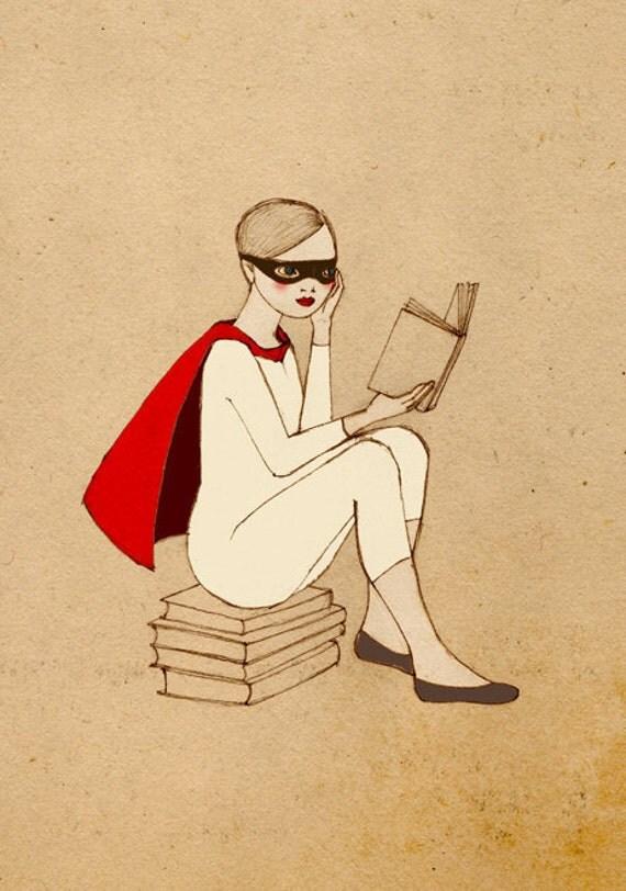 SUPERHERO SET, Superhero Reader and Kintter Set,  Girl Deluxe Edition 2 Giclee Prints of original drawing
