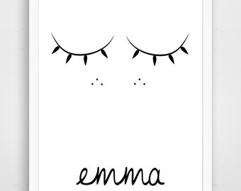 Sweet Sleepy Face - Can be Personalized - Black and White