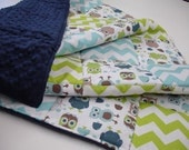 Modern Owls Lime and Aqua Chevron 3 Piece Baby Crib Bedding Set MADE TO ORDER