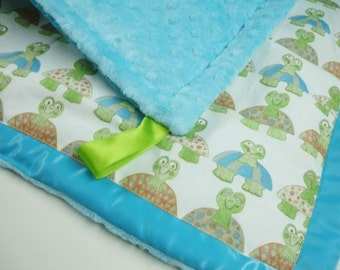Long Neck Turtles Satin Trimmed Minky Lovey 18 X 19 READY TO SHIP