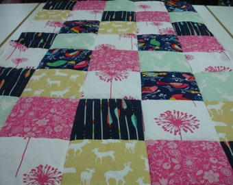 A Woodsy Spring Medley Minky Patchwork Blanket You Choose Size MADE TO ORDER No Batting