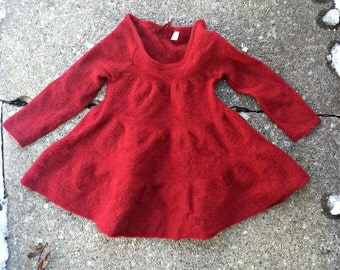 Felted wool sweater, Felted Red Sweater - Fabric for dolls, Wool fabric felted
