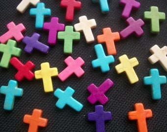 25 Stone Cross Beads Assorted Colours 16mm x 12mm