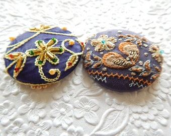 Beaded blue brooch, embroidered pin, coat accent, hat jewelry, glove decoration. winter accessory