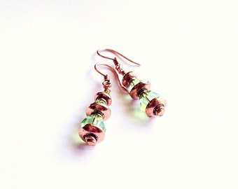 Green Crystal Earrings - copper earrings - metal earrings - 7th anniversary gift - 22nd - August Birthstone - Peridot earrings