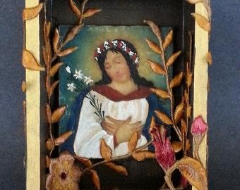 La Virgin shrine box, Retablo of Mary