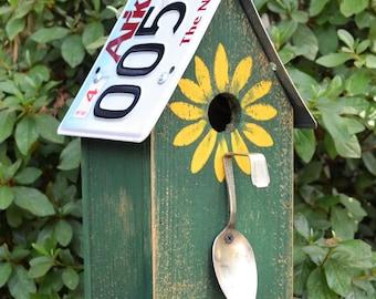 Rustic Birdhouse - License Plate Birdhouse - Spoon Birdhouse - Primitive Birdhouse - Sunflower Birdhouse