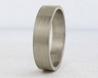 5mm White Gold Wedding Band | Flat Wedding Band | Eco friendly Recycled Gold | Men's Wedding Band 14k 18k | Classic White Gold Band