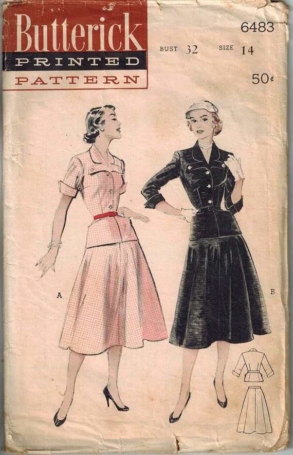 1954 Butterick 6483 Gorgeous Shirt Dress Sewing Pattern Vintage Size 14 Top and full skirt Very Unique