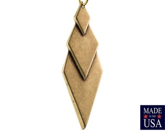 Brass Ox Layered Look Diamond Pendants (4) mtl419B