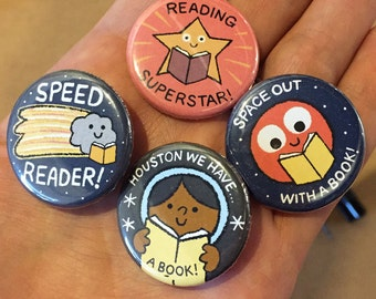 Take Me To Your Reader Buttons - SET ONE