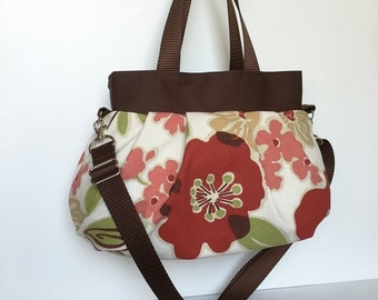 Cross Body Pleated Bag (SMALL or MEDIUM) w/ Adjustable Strap - Rainforest Green Floral