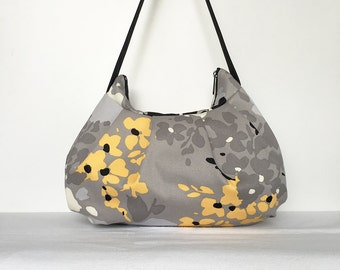 Pleated Bag // Shoulder Purse - Yellow Floral Splat