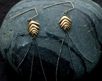 Silver and Bronze Mountain Brome  Earrings  | Nature Inspired