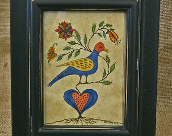 "FRAKTUR ~""Love in Bloom"" ~ My Original OOAK Design ~ Framed"