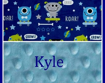 Monster Boy Blanket~Blankets with Name~Personalized Minky Blanket~SK8 Toddler Bedding~Nursery Crib~