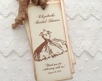 Bridal Shower Bookmarks Favor Wedding Shower Vintage Dress Set of 10