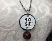 YO SE Stamped Ceramic Necklace