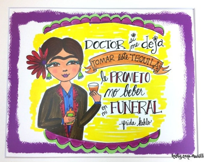 Frida Drinks Tequila Print 8x10