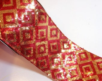 Sequin Ribbon, Lion Brand Gold and Red Marcella Wired Fabric Ribbon 4 inches wide x 10 yards, Full Bolt