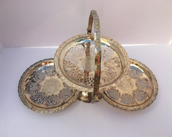 Vintage Queen Anne Serving Platter Silver Plated Wedding Cookie Cupcake Cake