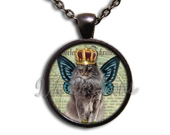 Royal Crown Cat Glass Dome Pendant or with Chain Link Necklace AN156