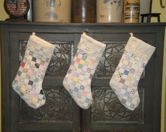 Old Quilt Stocking   Vintage Quilt Stocking   Christmas Stocking With Vintage Lace Cuff   Listing Is For 1 Stocking